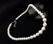 Lovely Bracelet Necklace Earring Cream Simulated Pearl Chain Fashion Jewelry Set