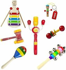 Simple days baby rattle wooden musical toys - set of 6- Multi color