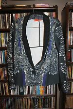 Clover Canyon Russian Enamel Black Blue One Button  Jacket Blazer XS  (bin85)