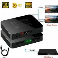 1 In 2 Out HDMI Splitter Switch Adapter Umschalter Verteiler 4K Ultra HD 1080P