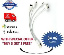 "8"" Short 4in1 USB Sync&Charger Cable for iPhone5/4/6/7/8/X/Plus Charging Samsung"