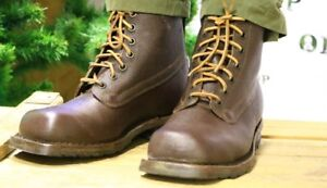 WW2 With surprise Swedish Army Work Combat Boots, Full leather BROWN VINTAGE NEW