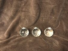 "3 Crystal Prisms Hanging Crystal Sun Catcher Approximately 1-3/4"" Diameter"
