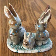 Zuni three Rabbits Fetish - Stafford Chimoni - Zuni Carving -baby bunny 1827