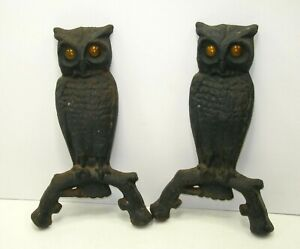 Pair Owl Andirons Original Yellow Glass Eyes Cast Iron Vintage Antiques 144U