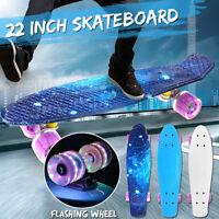 22'' Skateboard Cruiser Fish Board Skate Beginner Chrome Bearing Flashing Wheel