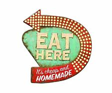 Vintage Sign Eat Here Retro Wall Decor Shabby Chic Rustic Kitchen Bar Diner Cafe