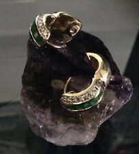 Vintage 14k Gold Diamond & Emerald Earring Hoops
