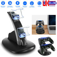 LED Fast Charging Charger Station Dual USB Port Stand For Sony PS4 Controller