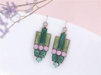 Boucles d'Oreilles Doré Art Deco Jade Vert Imi Rose Cremeux Retro Vintage A11