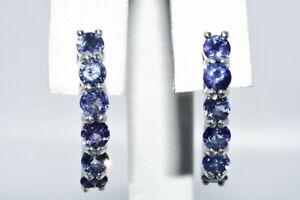2.50CT NATURAL ROUND CUT PURPLISH BLUE TANZANITE J-HOOP EARRINGS .925 SILVER