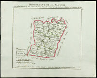 1802 - Antique Map Department of the Mayan of Chanlaire. France