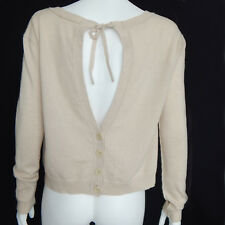 INHABIT 100% Cashmere Cream Open Back Button Down Boatneck Cropped Sweater sz S