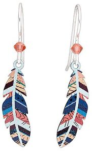 COLORFUL FEATHER Hypo-Allergenic Earrings, Sterling Silver Plated, by Sienna Sky