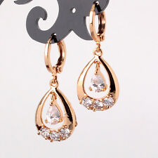 HUCHE Gold Filled Drop Raindrop Dangle Crystal Diamond Women Earrings Hoop Studs