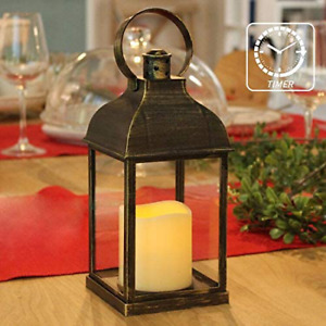 Decorative Candle Lantern Flameless Battery Timer Outdoor Indoor Hanging Decor