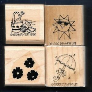 BEACH SAND SHELLS SUN Rain Shower FLOWERS Small LOT Stampin Up! RUBBER STAMPS