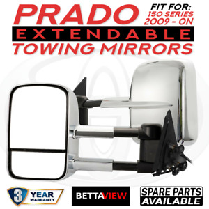 Bettaview Extendable Caravan Towing Mirrors TOYOTA PRADO 150 Chrome 2009/Current