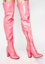 NIB- CURRENT MOOD Women's 'TOXIC TRUTH' THIGH HIGH Neon Pink BOOTS - 6