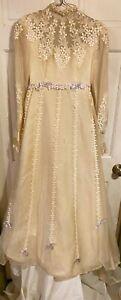 Vintage 1970s Custom Túlle+Taffeta+Appliqué Lace Prairie Wedding Gown~S~TLC/VVG