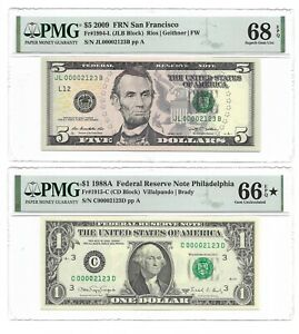 Matching LOW S/Ns, 1988A $1 & 2009 $5 PMG GEM UNCIRCULATED 66*/68 BANKNOTES 2123