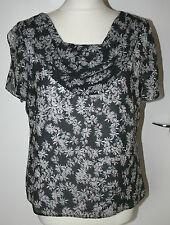 Viyella UK10 EU38 US6 black chiffon cowl neck top with pink/grey floral pattern