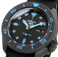 New SEIKO 5 SRPD81K1 Automatic Black Dial Black Nylon Strap Men's Watch
