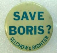 Pin Button Pinback SAVE BORIS ? Selchow & Righter 1961 Dick Tracy Game Promo