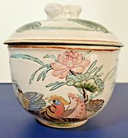 "Vintage Oreintal Pottery Bowl With Lid Birds Flowers aprox. 7"" tall Beautiful"