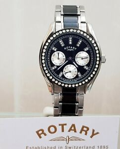 New ROTARY Ladies Watch Ceramic Look Black / Silver Day & Date RRP £180 Boxed