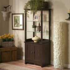 Bush Furniture Buena Vista Tall Library Storage Cabinet with Doors in Madison.