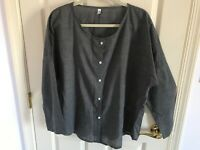 Woman's Misslook size large grey polyester long drop sleeve blouse