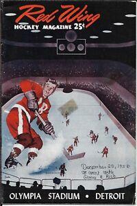 1956-57 Detroit Red Wings-Rangers Program Wings Rout Rangers on Christmas!!