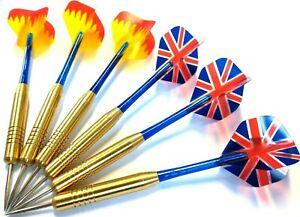 6 pcs / 2 Sets STEEL TIP BRASS DARTS SET + dart flights and shafts CHEAP BARGAIN