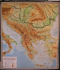 Schulwandkarte muro mapa tarjeta de ruedas tarjeta Balcanes Map Grecia Hungría 139x164