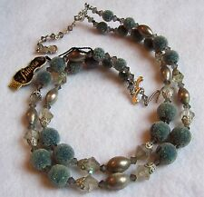 Rare Vintage Fabiola Blue Sugared Bead Necklace W/ Tag