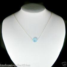 Simple w Swarovski Crystal Blue Ball Bridal Wedding Sterling Silver Necklace NEW