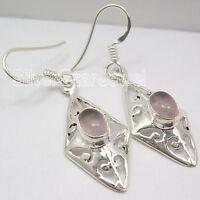 "Pink Jewelry !! 925 Sterling Silver ROSE QUARTZ ECONOMIC CAST Earrings 1.7"""