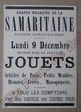 Publicité ancienne  Samaritaine Jouets   1895