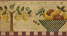 Tuscany Country Vintage Fruit Bowl Kitchen Pear Wall paper Border Carol Endres