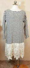 Soft Surroundings Size Medium Left Bank Nautical Dress Blue White Striped