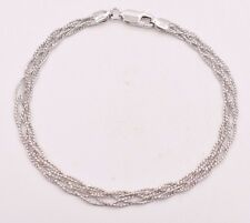 Triple Braided Fox Tail Diamond Cut Bracelet 14K White Gold Clad Silver 925