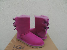UGG VICTORIAN PINK BAILEY BOW SUEDE/ SHEEPSKIN BOOTS, WOMENS US 7/ EUR 38  ~NEW
