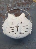 Metal Cat Wash Tin Candleholder Tea Light