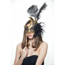 Ostrich Feather Mask with Stick birthday Burlesque party Masquerade ball Costume