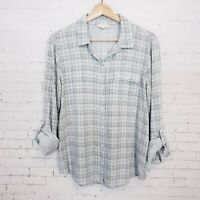 Soft Joie Womens Plaid Top Size M Light Blue 3/4 Roll Tab Sleeves Button Up