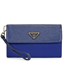 Prada Tessuto Saffiano Leather and Nylon Wallet - Bluette