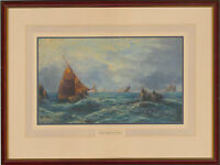 School of T.B. Hardy - Early 20th Century Oil, Fishing Vessels in the Channel