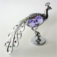 Crystocraft Silver PEACOCK Ornament with Strass Swarovski Crystal Elements Gift
