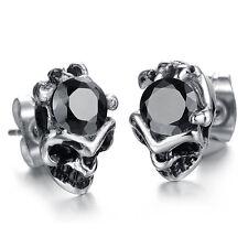 Hot Selling Fashion Mens Womens Black CZ Stainless Steel Skull Ear Stud Earrings